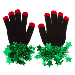 Mistle Ho Tinsel Gloves - Black,