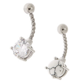 Silver Cubic Zirconia 14G Marble Stone Belly Rings - 2 Pack,
