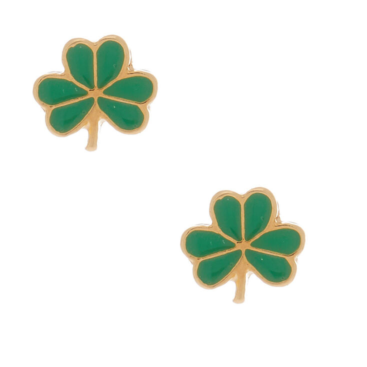 18kt Gold Plated Shamrock Stud Earrings,