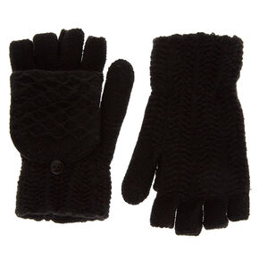 Knit Fingerless Gloves With Mitten Flap - Black,