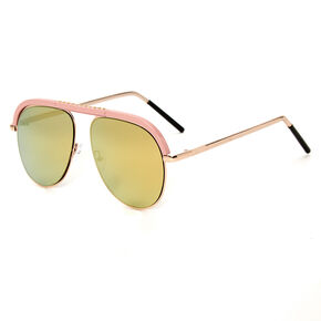 Pink Browbar Aviator Sunglasses - Rose Gold,