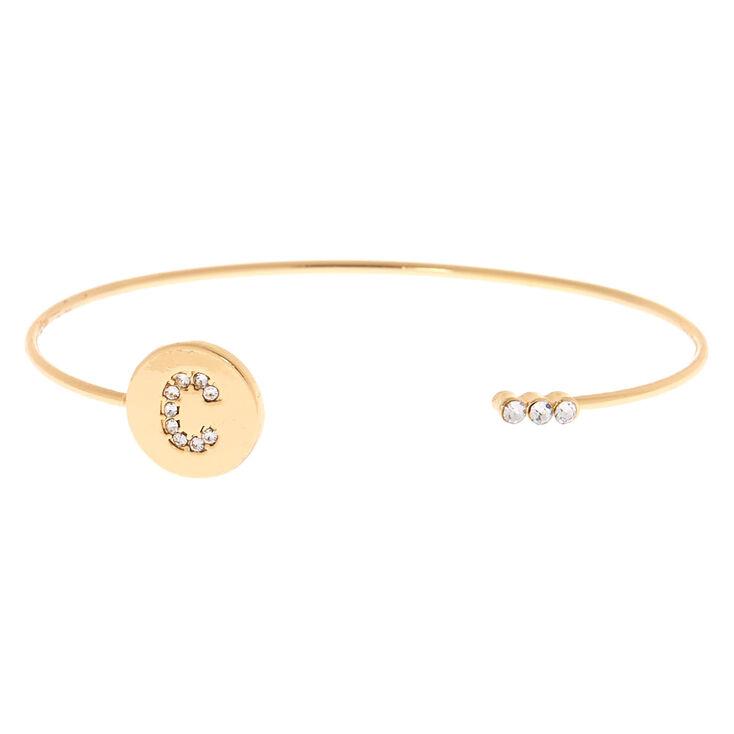 Gold Initial Cuff Bracelet - C,