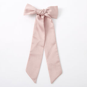 Satin Bow Hair Barrette - Blush Pink,