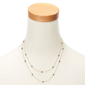 Gold Navy Beaded Multi Strand Necklace,