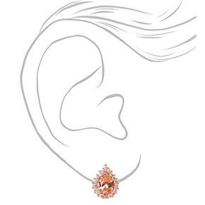 Rose Gold Cubic Zirconia Silk Stone Teardrop Halo  Stud Earrings,