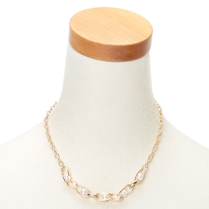 Gold Pearl Cage Chain Statement Necklace,