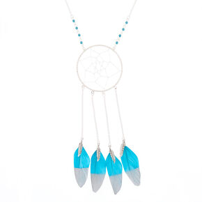 Silver Dreamcatcher Long Pendant Necklace  - Teal,