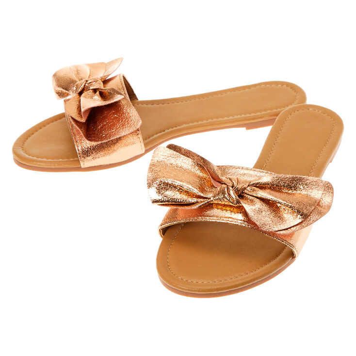 Knotted Bow Sandals - Rose Gold,