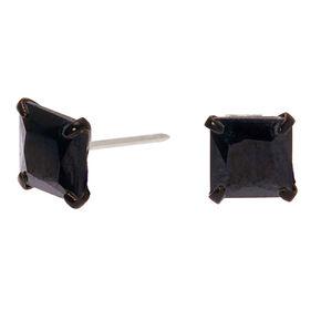 Black Cubic Zirconia 6MM Square Stud Earrings,