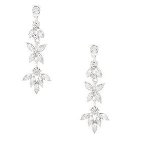 """Silver Rhinestone 2"""" Petal Drop Earrings,"""