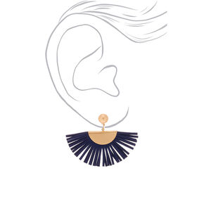 "Gold 1.5"" Suede Tassel Fan Drop Earrings - Navy,"