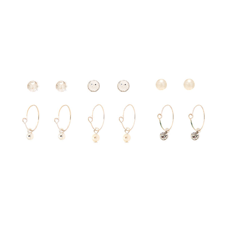 Silver Crystal Pearl Stud & Hoop Earrings - 6 Pack,