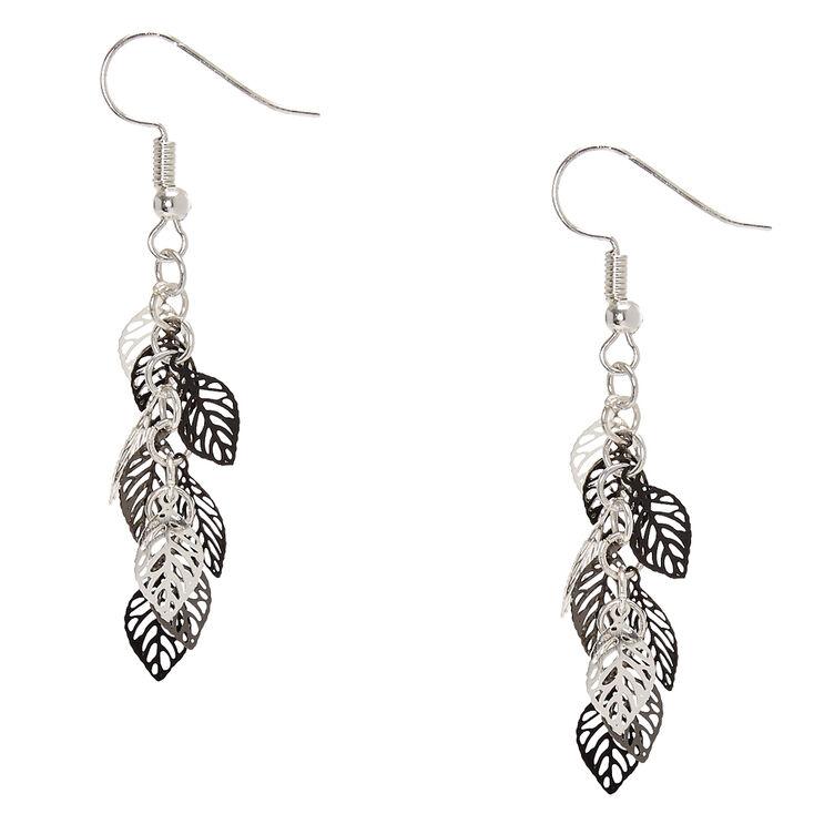Silver & Black Leaves Drop Earrings,