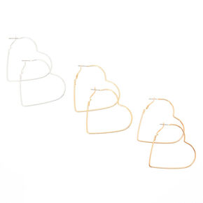 3 Pack 50MM Heart Hoop Earrings,