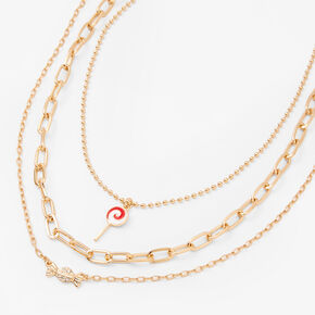 Gold Lollipop Candy Multi Strand Chain Necklace,