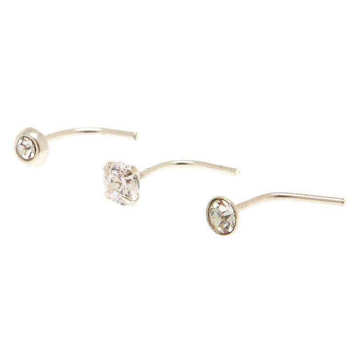 Sterling Silver Mixed Nose Studs - 3 Pack,