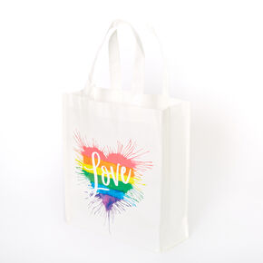 Rainbow Love Heart Splatter Reusable Tote Bag - White,