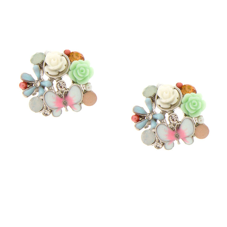 Pastel Carved Roses & Enamel Butterfly Cluster Stud Earrings,