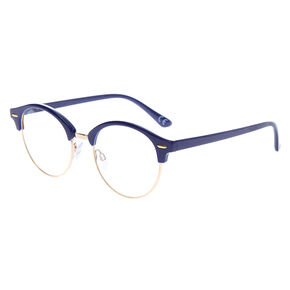 Gold Browline Clear Lens Frames - Navy,