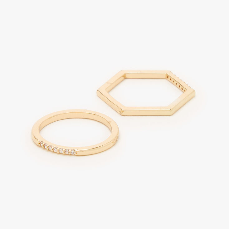 Gold Cubic Zirconia Geometric Rings - 2 Pack,