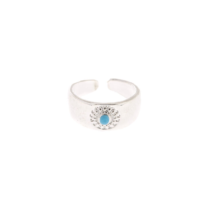 Turquoise Stone Silver Toe Ring,