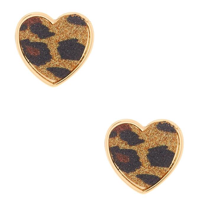 Gold Glitter Leopard Heart Stud Earrings,