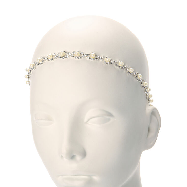 Silver & Pearl Twisted Headwrap,