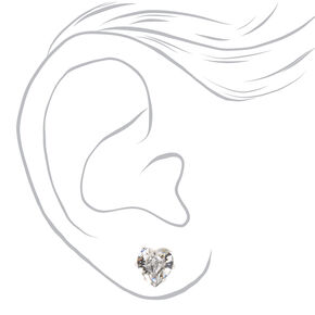 Silver Mixed Crystal Shape Stud Earrings - 6 Pack,
