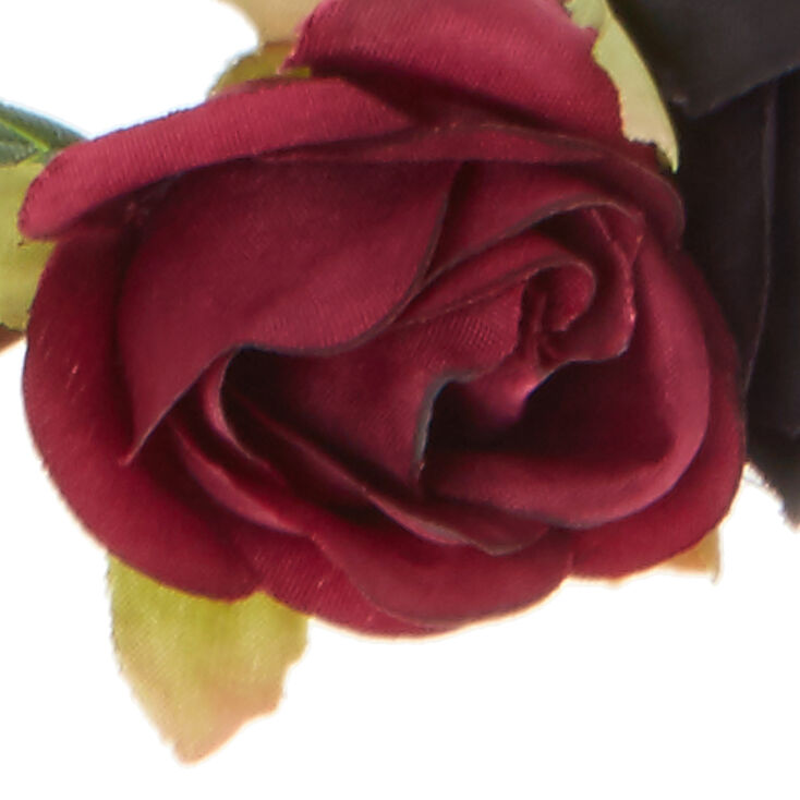 Navy And Wine Rose Hair Flower Crown,