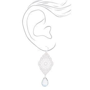 """Silver 2.5"""" Filigree Drop Earrings - Mint,"""