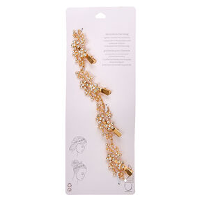 Gold Tone Faux Crystal & Pearl Flower Decorative Hair Swag,