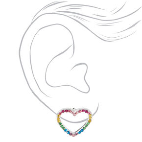 Silver Rainbow Embellished Heart Stud Earrings,