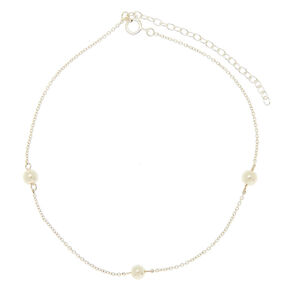 Sterling Silver Pearl Chain Anklet,