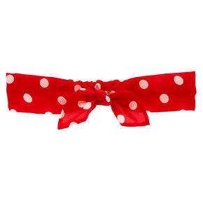 Polka Dot Knotted Bow Headwrap - Red,