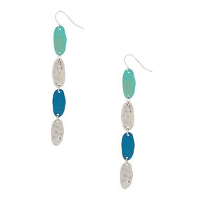 "Silver 3"" Linear Patina Drop Earrings,"