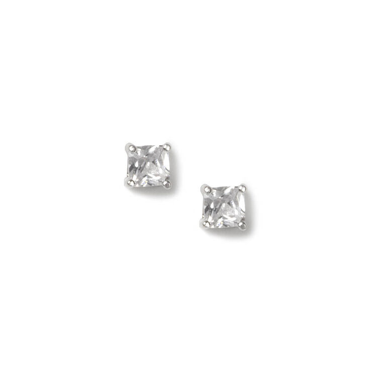 4MM Cubic Zirconia Four Prong Setting Square Stud Earrings,