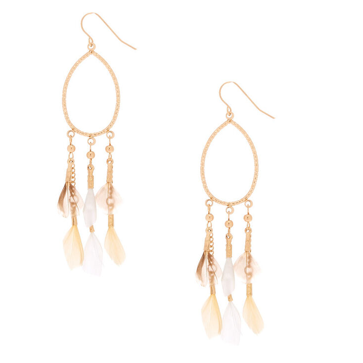 """Gold 3"""" Oval Feather Drop Earrings - Cream,"""