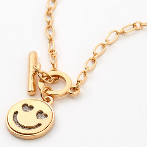 Gold Glitter Smiley Face Toggle Chain Pendant Necklace,