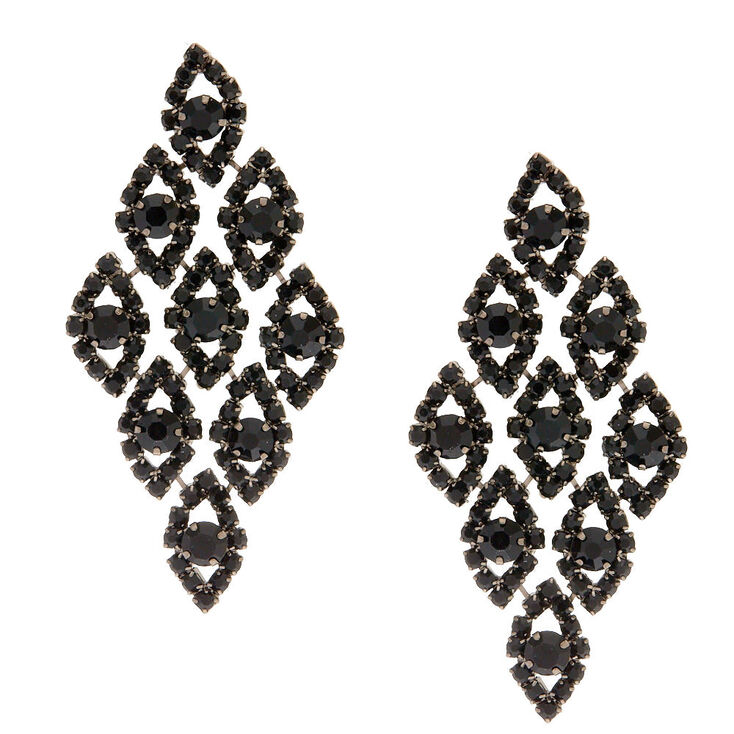 Black Crystal Chandelier Drop Earrings,