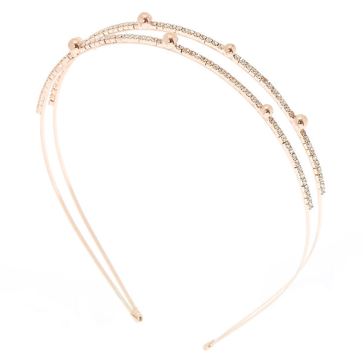 Silver Embellished Double Row Headband,