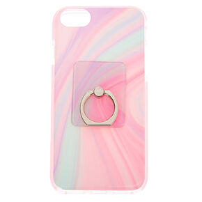 Pastel Swirl Protective Ring Holder Phone Case - Fits iPhone 6/7/8/SE,