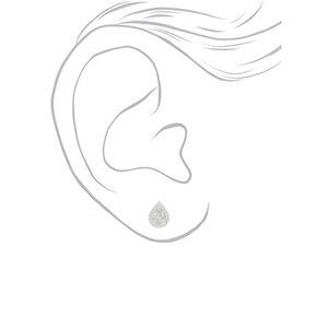 Silver Cubic Zirconia 6MM Teardrop Stud Earrings,