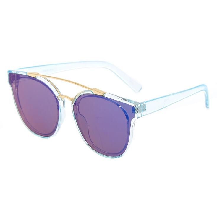 Transparent Aviator Sunglasses - Blue,