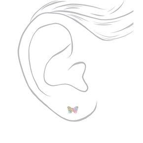 Sterling Silver Swarovski® Pastel Crystal Butterfly Stud Earrings,