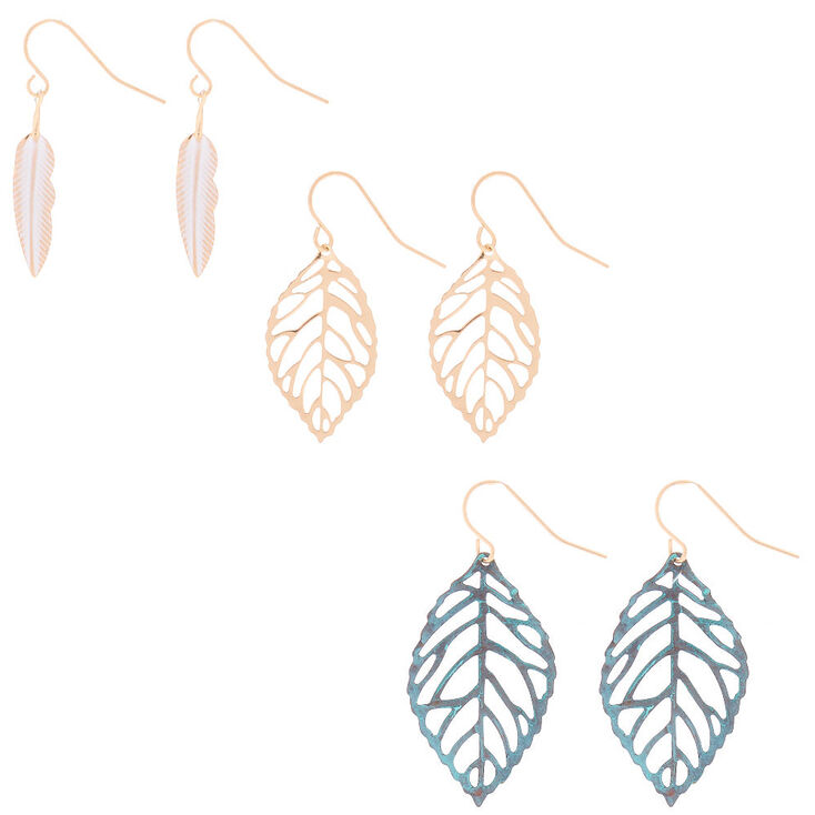Patina Leaf Drop Earrings - 3 Pack,
