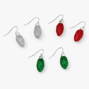 Silver Glitter Lights Drop Earrings - 3 Pack,