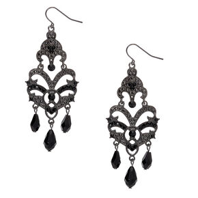 "Hematite 3"" Gothic Chandelier Drop Earrings,"