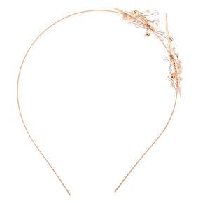 Rose Gold Rhinestone Floral Headband,