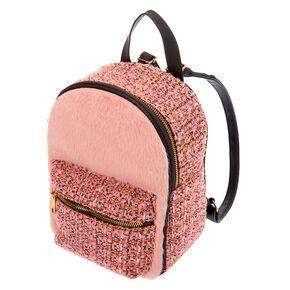 Furry Tweed Midi Backpack - Pink,