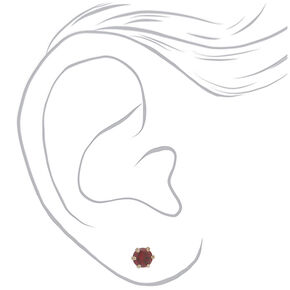 Silver Cubic Zirconia 6MM Round Stud Earrings - 3 Pack,